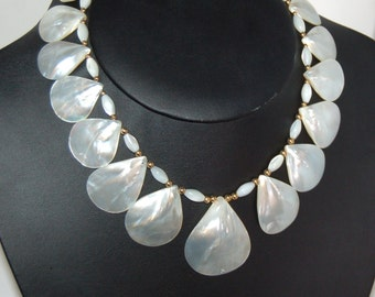 White Shell Necklace, Shell Choker, Mother of Pearl, Iridescent White, 14 Kt Gold Fill, White Shell Choker, MOP Necklace