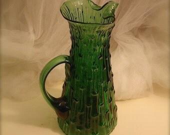 Vintage handblown green pitcher by Imperial glass Company, Bambu Green (Verde) Pitcher