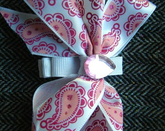 Pink and White Paisley Gemmed Hair Clip//Girls Bows//Unique Hair Accessory
