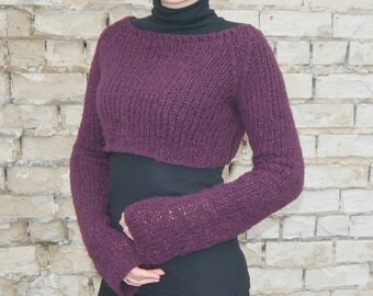 Purple Sweater, Cropped Sweater, Mohair Sweater, Loose Knit sweater, Croped Sweater, Sweater Shrug