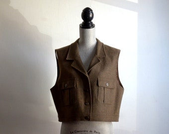 Army Green Blanket Weight Wool Vest by Clifford & Wills