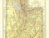 UTAH ANTIQUE MAP - Nelson's Perpetual Loose-leaf Encyclopedia Page