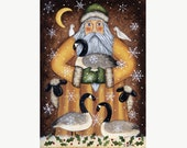 Christmas Folk Art Greeting or Note Card - Blank Inside or Choose  a Greeting - Print from Original Painting of Santa with Geese, Sheep
