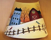 Winter Folk Art Night Light - MADE TO ORDER - Hand Painted Winter Sunrise, Red Barn, Bunnies, Primitive Saltbox House, Cardinal Blue Jay