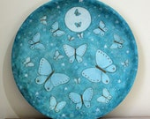 Spring Folk Art Painting Butterfly Wood Plate - MADE TO ORDER -  Primitive Butterflies in Moonlight Hand painted Teal Aqua Blue Turquoise