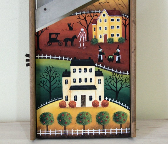 Halloween Folk Art Hand Painted Vintage Primitive Wood Cabbage Shredder Board with Halloween Scene Saltbox Houses Witches Ghosts Pumpkins