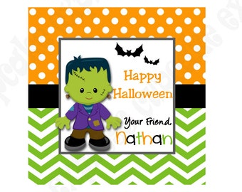 DIY Halloween #7 Personalized Gift Tag PRINTABLE tag sticker label ghost