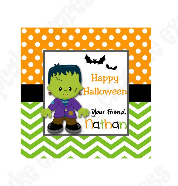 diy halloween 7 personalized gift tag printable tag sticker label ghost - Halloween Gift Tag