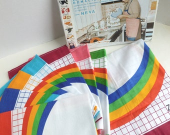 Rainbow Kitchen Towels and Apron Set Days of the Week Hostess Set Slovenian Croatian Packaging New Old Stock Unused