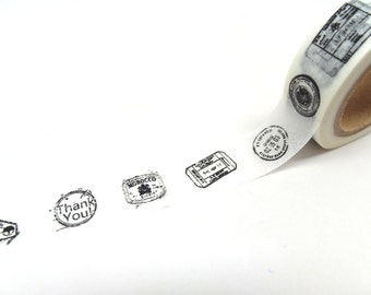 Postal Stamp Washi Tape - Black and White Washi Tape, Mail Stamp Washi Tape - Washi Tape Sale