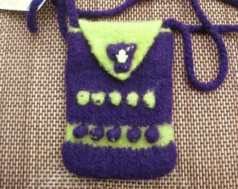 Hand knit Purple and Green I-phone shoulder bag with Yoga Hand bead