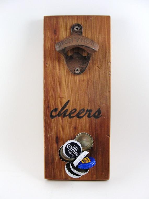Wall Mount Bottle Opener Cast Iron Magnet Cap Catcher Cheers