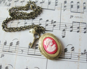 Pink cameo locket necklace - pearl & key charms with pendant on antique bronze chain