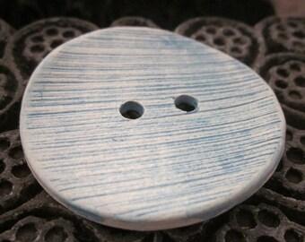 Large Blue Stripe Texture Ceramic Button