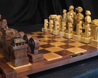 Chess Set Handmade Hippies Chess Set on etsy hand carved chess sets and chess boards, chess pieces