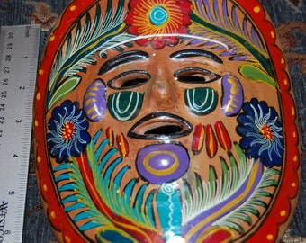 From Mexico Terra Cotta Painted Ceremonial Mask Tribal Mask  Ethnic Mask Totem Style Mask Hand Painted Mask