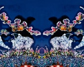 Sheep fabric - Sheep in Moonlight While All Sleep - art batik fabric  -  quilting - sewing - fabric art supply