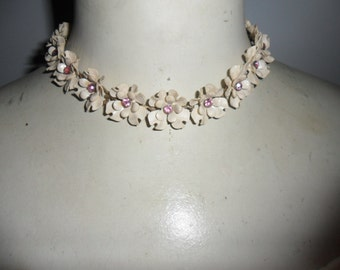 Authentic Vintage Beautiful Cream, Bone Clear and Pink Rhinestone Dogwood Flower Enamel Necklace And Earring Set