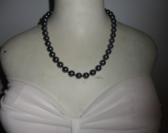 Authentic Vintage Real Black Hand Knotted Pearl Necklace