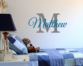 Nursery Decal Initial Name Vinyl Wall Decal Childrens Room Boys Name Personalized Bedroom