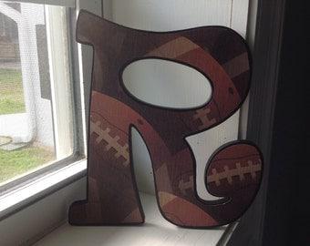 """Football  """"R"""" wall letter/sports room decor/boys room decor"""