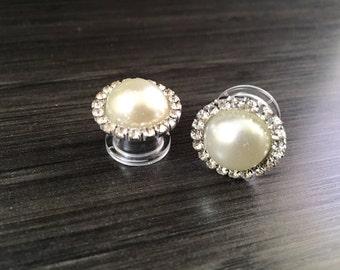 """1/2"""" Bridal Pearl Plugs 7/16"""" 00g 9/16"""" Crystal Rhinestones Ivory Pearl Wedding Guages Formal Gauged Earrings 12mm 14mm 10mm 11mm"""