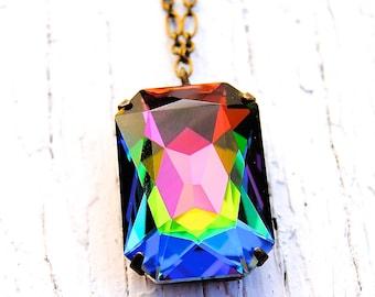 RARE Rainbow Vintage Pendant Necklace Swarovski Crystal Necklace Large Crystal Necklace Mashugana