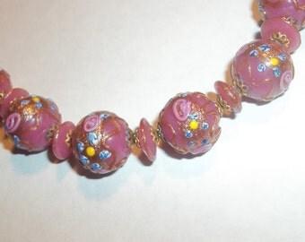 True Vintage Wedding Cake Murano Glass Necklace Rose Pink Fabulous