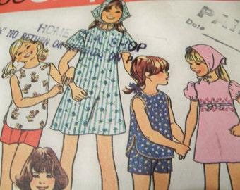 1976 Simplicity 7463 Size 10 Girls Jiffy Dress, Top, Shorts Scarf Kerchief Sewing Pattern Supply Girls Dress Pattern Girls Shorts Pattern u