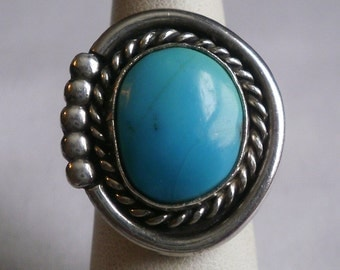 Sterling Silver Turquoise Ring-Size 5 3/8