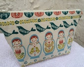 Babushka Birds and Stringed Instruments Makeup Bag Cosmetic Bag Knitting Project Bag Crochet Project Bag