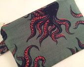 Octopus Small Zippered Pouch, Coin Purse, Notions Case, Stocking Stuffer, iPod Case, Wallet, Vegan Wallet