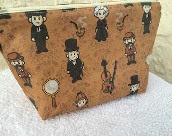 Sherlock Holmes Makeup Bag Cosmetic Bag Toiletry Bag Knitting Project Bag Crochet Project Bag