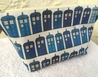 T.A.R.D.I.S. Doctor Who Makeup Bag Cosmetic Bag Toiletry Bag Knitting Project Bag Crochet Project Bag