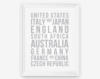 SALE 20% OFF Personalized World Destinations Print, Travel art - Different size