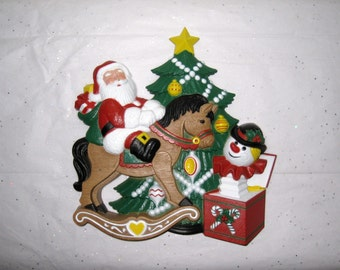 1990 Burwood Products 3-D Christmas Wall Hanging / Child's Room Decor / Vintage Santa On Rocking Horse