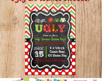 UGLY CHRISTMAS SWEATER invitation -- You Print