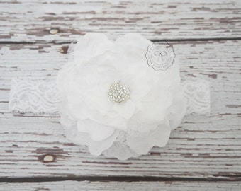 White Flower Headband - Baptisim Baby Headband - Girls Headband - Flower Headband - toddler headband - Lace headband - big flower headband