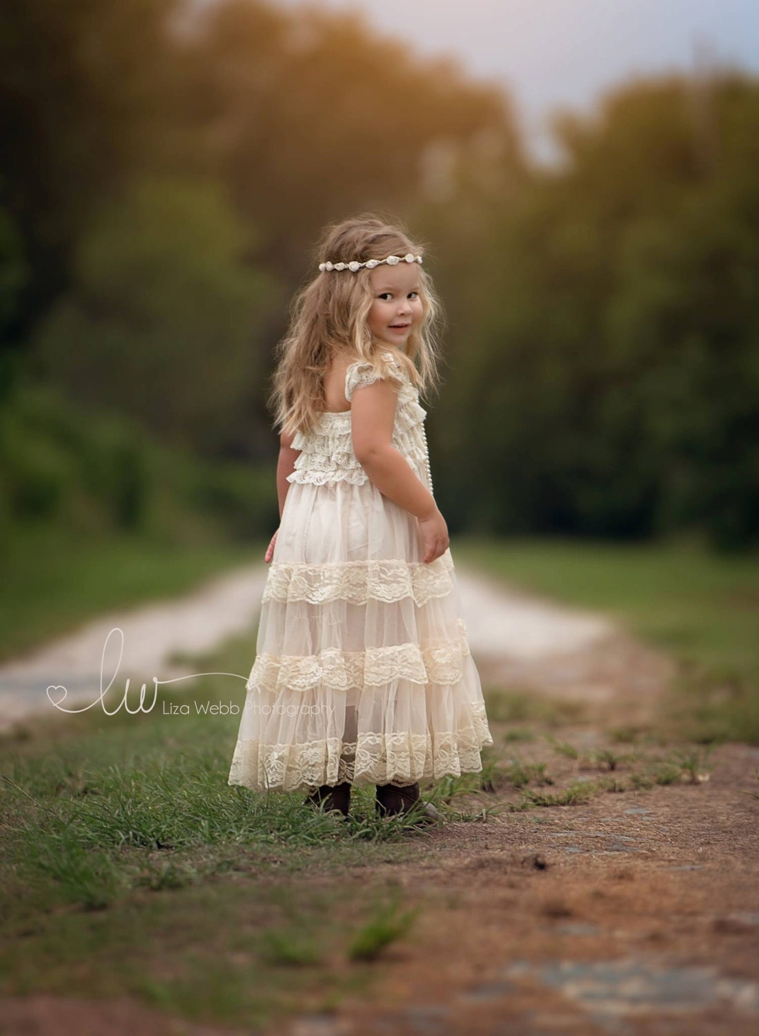 champagne flower girl dress lace baby dress by PoshPeanutKids