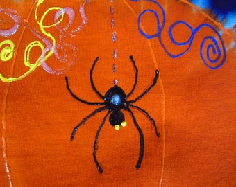 "Tie dye Halloween shirts,  ""Pumpkin""  (with or without spider), all sizes will be dyed and shipped within a week, 350"