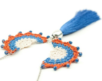Necklace-Bohemian Crochet Tassel Necklace, Crochet Tribal Long Necklace,Ethnic Style Blue Orange Jewelry,Fiber Art