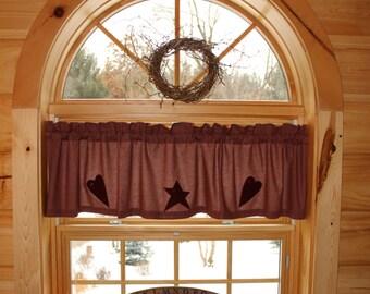 Homespun Country Primitive Star Heart Curtain Window Valance