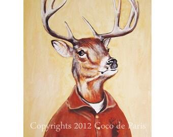 Woodland Deer Painting, Original Artwork, Acrylic Painting, Oil Painting, Deer Print, Antlers, Stag, Antlers painting, Stag painting