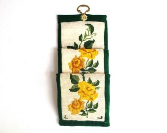 Vintage Yellow Rose Needlepoint Bell Pull