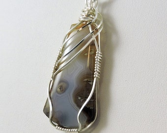 Lace Agate Necklace Wire Wrapped Gemstone Necklace, Agate Jewelry