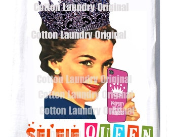 Flour sack kitchen towel Selfie Queen Christmas gift