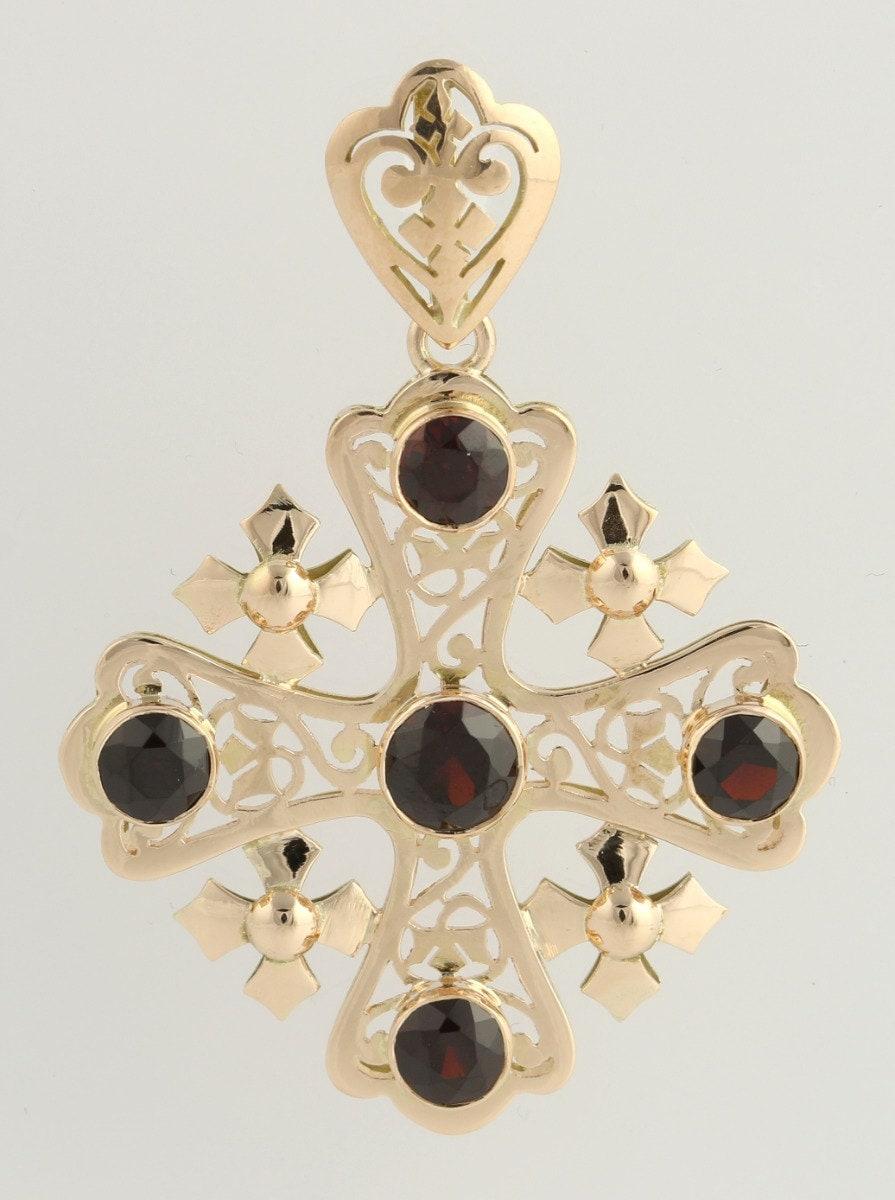 jerusalem cross garnet pendant 14k yellow gold genuine