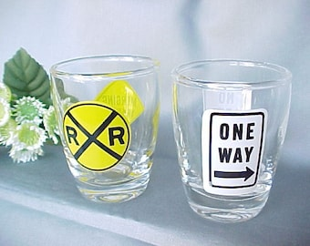 Vintage Shot Glasses (2) One Way No Left Turn & Railroad Crossing Merging Traffic, Barware Shooters, Novelty Street Sign Collectible Jiggers