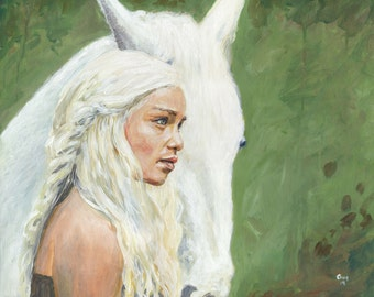 Original Acrylic Painting - Game of Thrones, Khaleesi/Daenerys Targaryen Portrait