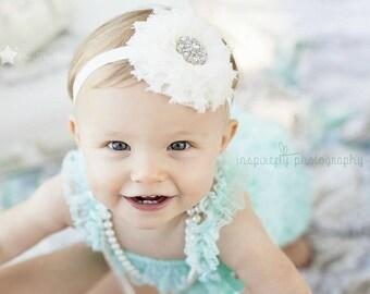 White heaband, baby elastic headband, baby headband, infant headband, newborn headband, baby girl, elastic headband, headband infant